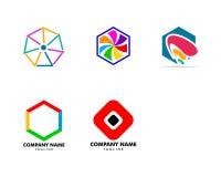 Set of Abstract hexagon logo design. Hexagon logo stock illustration