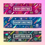 Abstract Christmas banners with multicolored geometric shapes Stock Photography