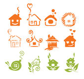 A set of abstract houses. Vector illustration - abstract set of cheerful houses royalty free illustration
