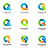 Set Of Abstract Icon Letter Q Template royalty free illustration