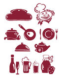 A set of abstract icons - the food and utensils. Vector illustration - a set of abstract icons, theme - food, drinks, cafe, restaurant royalty free illustration