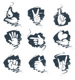 A set of abstract icons - hands Royalty Free Stock Photos