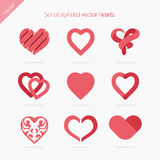 Set of abstract icons hearts Stock Photography
