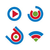 Set of abstract icons, play sign. 3d vector push buttons, multim Stock Photography