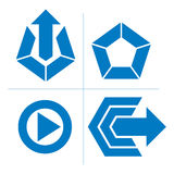 Set of abstract icons, play sign, special arrow. Vector push but Royalty Free Stock Photo