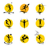 Set abstract illustration - summer sports Stock Photos