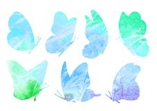 A set of abstract images of a blue butterfly. Watercolor collection of illustrations isolated on white background. Animal print. Painted insects Royalty Free Stock Photography