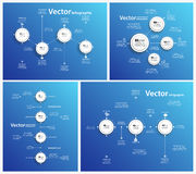 Set of abstract Infographic design  on blue backgraund Stock Images