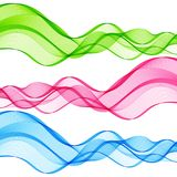 Set of Abstract Isolated Green, Pink, Blue Wave Lines for White Stock Photo