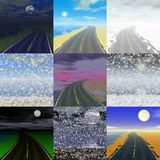 Set of abstract landscape generated backgrounds Stock Images