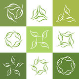 Set abstract leaf shape vector, collection of looped leaf logo. Template royalty free illustration