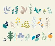 Set of abstract leaves. Vector design elements stock illustration