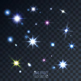 Set of abstract lens stars and flares on transparent background Royalty Free Stock Photography