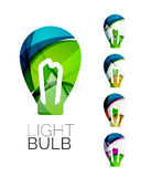 Set of abstract light bulb icons, business Royalty Free Stock Image