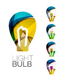 Set of abstract light bulb icons, business Royalty Free Stock Photos