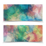 Set of Abstract Light Natural Triangular Polygonal header Royalty Free Stock Photography