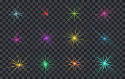 Set of Abstract Lighting Shining Flares or Stars. EPS 10 Stock Image