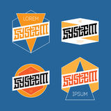 Set of Abstract Line Graphic Design Templates for Logo, Labels o. R Badges. Vector illustration with lettering Royalty Free Stock Images