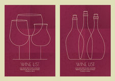 Set of abstract line illustration, three wine glass and bottles Royalty Free Stock Photo