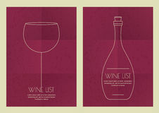 Set of abstract line illustration, wine glass and bottle on grun Stock Photography