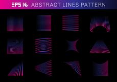 Set of abstract lines pattern elements blue and pink color on black background vector illustration