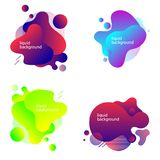 set of abstract liquid shapes. Fluid design. Isolated gradient waves with geometric lines, dots. Vector illustration stock illustration