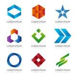 Set of abstract logo design template. Abstract logo. Swirl logo. Circle logo. Ribbon logo. Arrow logo. Star logo Stock Photos