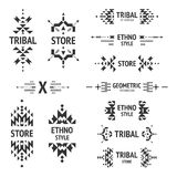 Set of abstract logo. With tribal, ethnic, geometric elements, hipster logo, business label, navajo stile  on white background Royalty Free Stock Images