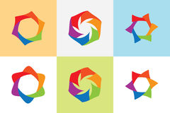 Set abstract loop shape vector,multi color hexagonal looped vect. Or. Colorful star vector vector illustration
