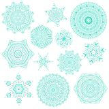 Set of abstract mandala tattoos. Set of creative and artistic blue and pink mandalas isolated on white background. Collection of mehendi tattoo designs Stock Illustration