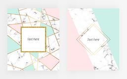 Set abstract marble or stone texture with gold lines and triangles geometric forms with gold and glitter frame. Cream, light blue, vector illustration