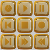 Set of abstract media player 3d buttons. Isolated on white background Stock Photos