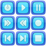 Set of abstract media player 3d buttons. Isolated on white background Royalty Free Stock Images