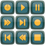 Set of abstract media player 3d buttons. Isolated on white background Royalty Free Stock Photography