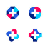 Set of abstract medical logo templates or icons with cross Stock Photo