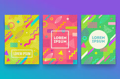 Set of abstract memphis style retro background. With multicolored simple geometric shapes and copy space frame Royalty Free Stock Photos