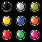 Set of abstract metallic background with round col. Ored glossy banner Stock Photos