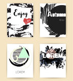 Set of abstract modern autumn flyers. In vector Stock Images