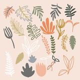 Set of abstract modern floral elements. Digital hand drawn illustration. Pastel colored naive plants. Leafs, flowers and. Branches. Good for patterns, cards Stock Photos