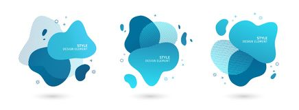 Set of abstract modern graphic elements. Dynamical blue forms and line. Gradient abstract banners with flowing liquid. Shapes. Template for the design of a logo royalty free illustration