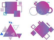 Set of abstract modern graphic elements. Dynamical colored forms and line. Gradient abstract banners with flowing liquid shapes. T stock illustration