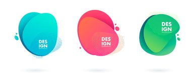 Set of abstract modern graphic elements. Dynamical colored forms and line. Gradient abstract banners with flowing liquid vector illustration