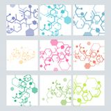 Set abstract modern pattern of hexagons circuits Royalty Free Stock Photo