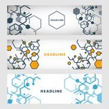 Set abstract modern pattern of hexagons circuits Royalty Free Stock Photography