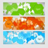 Set abstract modern pattern of hexagons circuits Stock Photos