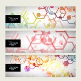 Set abstract modern pattern of hexagons circuits Royalty Free Stock Photos