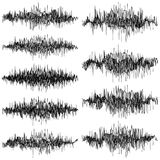 Set of abstract monochrome sound waves oscillating object. EPS 10 vector. Set of abstract monochrome sound waves oscillating object. And also includes EPS 10 stock illustration