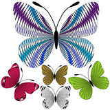 Set abstract mosaic butterflies Royalty Free Stock Images