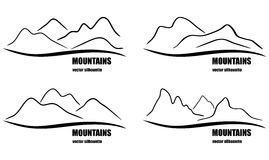 Set of abstract mountain silhouettes. Royalty Free Stock Photo