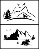 Set of abstract mountains silhouette. Royalty Free Stock Photos